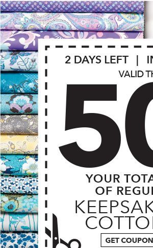 In-Store & Online Thru 12/28. 50% off your total purchase of regular-priced Keepsake Calico Cotton Prints. Get coupon.