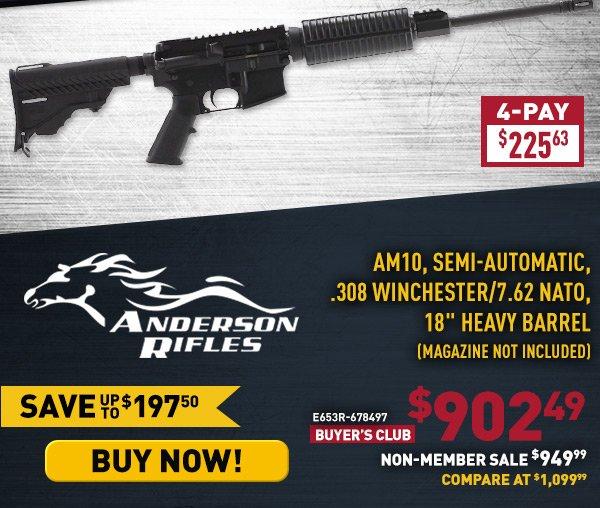 "Anderson AM10, Semi-Automatic, 7.62x51mm / .308 Winchester, 18"" Heavy Barrel, Magazine Not Included"