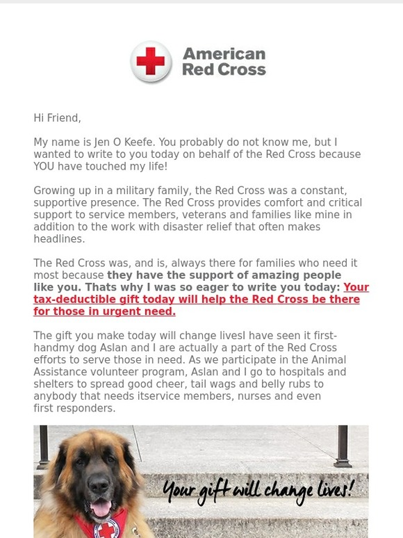 American Red Cross: You helped change my life   Milled