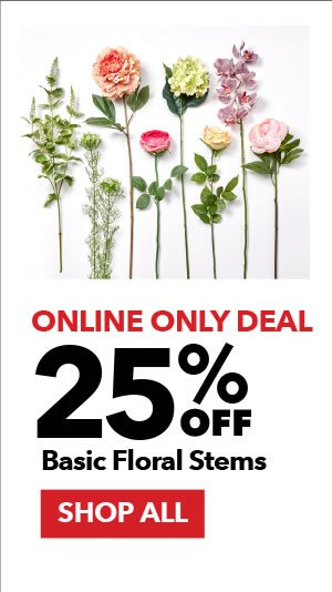Online Only Deal. 25% Off Basic Floral Stems. SHOP ALL.