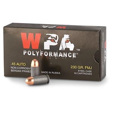 Wolf WPA Polyformance, .45 ACP, FMJ, 230 Grain, 50 Rounds