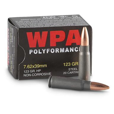Wolf, 7.62x39mm, HP,  123 Grain, 20 Rounds