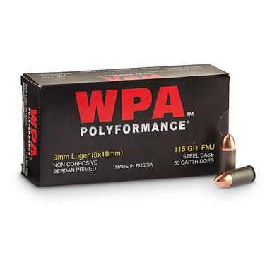 Wolf, Polyformance, 9mm Luger, FMJ, 115 Grain, 50 Rounds