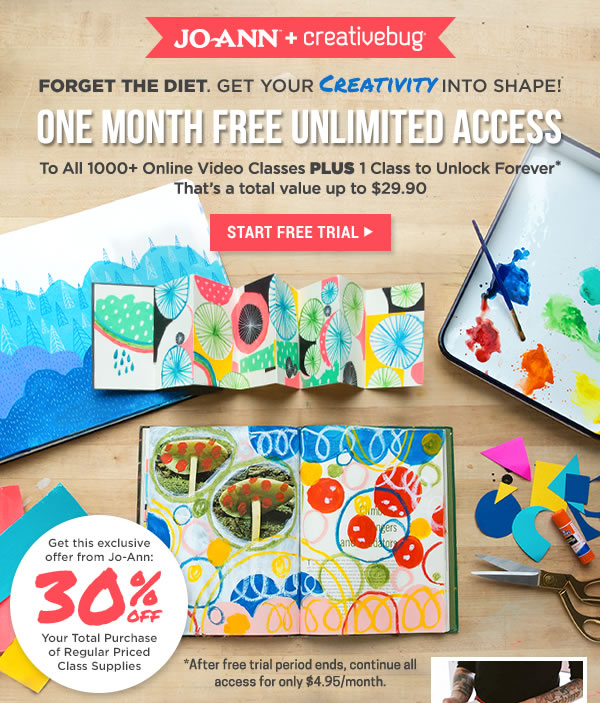 Joann + Creativebug. One Month Free Unlimited Access to All 1000+ Online Video Classes + 1 Class to Unlock Forever. START FREE TRIAL.