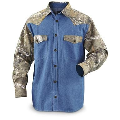 Guide Gear Men's Long-Sleeve Denim Shirt with Camo Accents