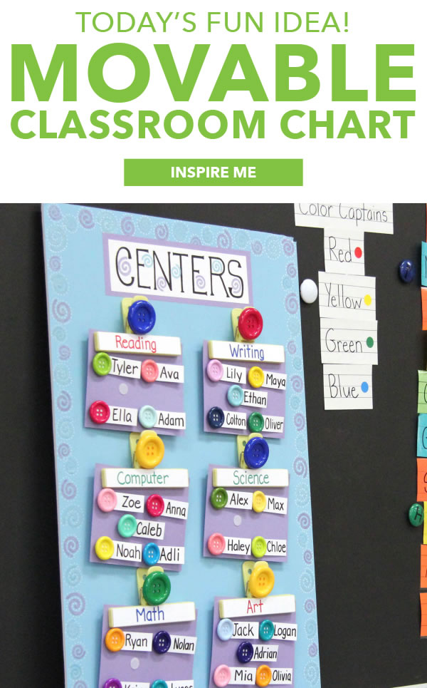 Today's Fun Idea! Movable Classroom Chart. INSPIRE ME.