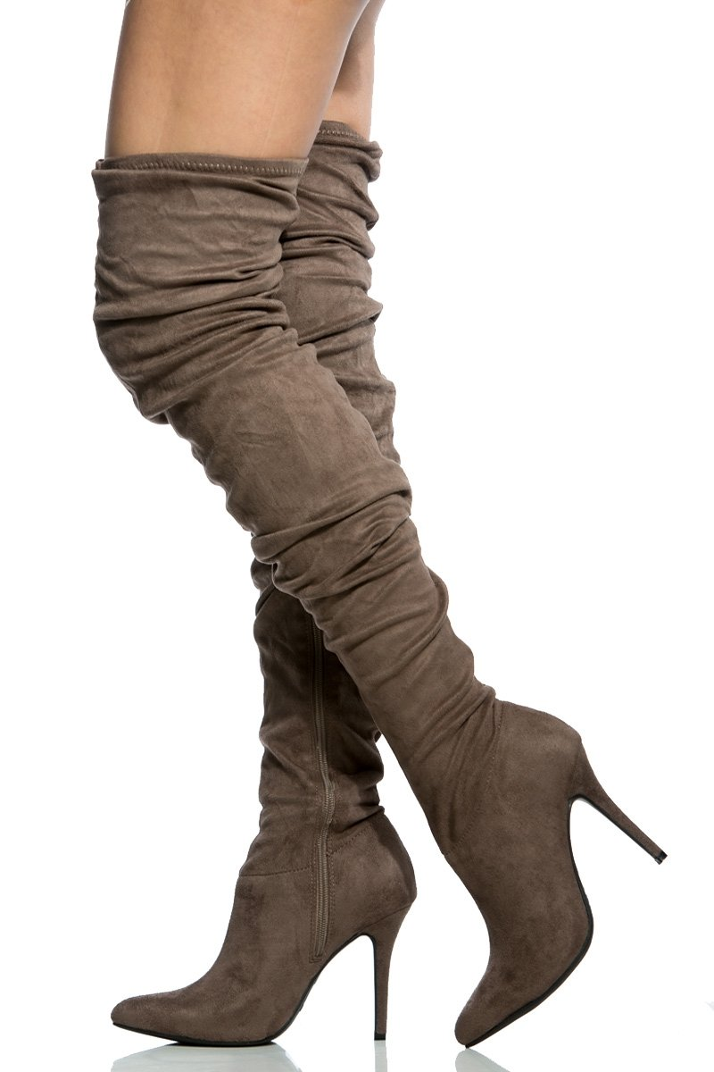 e0247e2f236 Olive Faux Suede Chunky Lace Up Booties