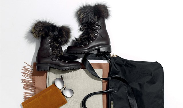 Shearling boots: check. Cozy cashmere scarf: check. Moisturizers: check.