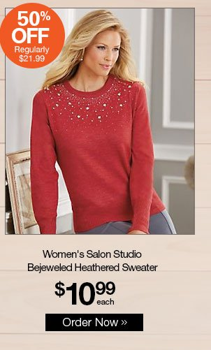 Shop Women's Salon Studio Bejeweled Heathered Sweater