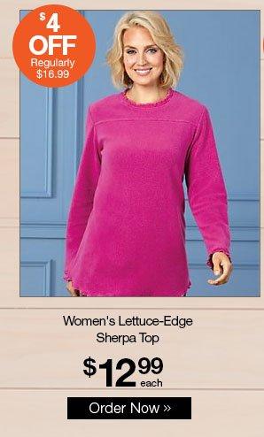 Shop Women's Lettuce-Edge Sherpa Top