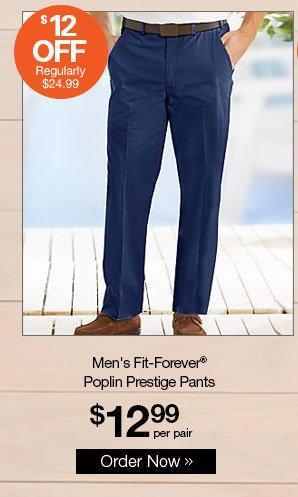 Shop Men's Fit-Forever® Poplin Prestige Pants