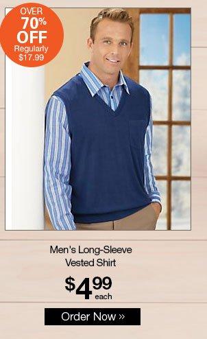 Shop Men's Long-Sleeve Vested Shirt
