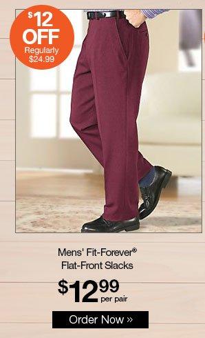 Shop Men's Fit-Forever® Flat-Front Slacks