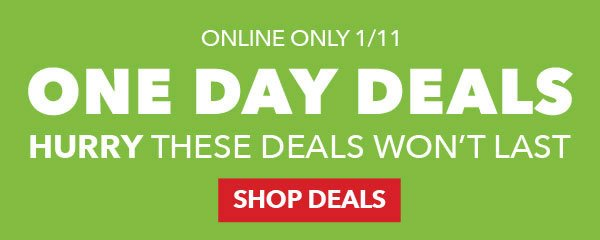 Valid 1/11 Online Only. One Day Deals. Shop Deals.