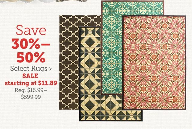 Save 30% - 50% Select Rugs ›