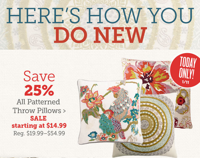 Save 25% All Patterned Throw Pillows ›