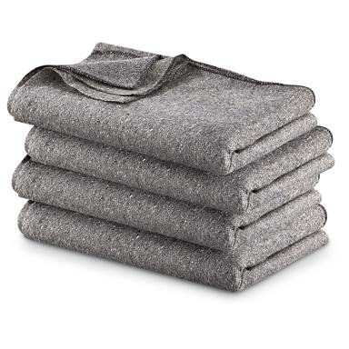 "Military Surplus Wool Blankets, 4-Pk, 60"" x 80"" Size"