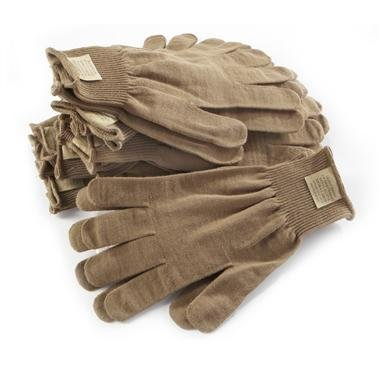 U.S. Military Surplus Extra-large Liner Gloves, 10 Pack, New