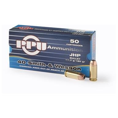 PPU, .40 S&W, JHP, 180 Grain, 50 Rounds