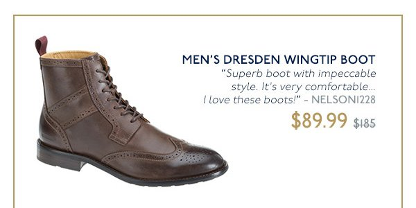 MEN'S DRESDEN WINGTIP BOOT - ON SALE NOW $89.99