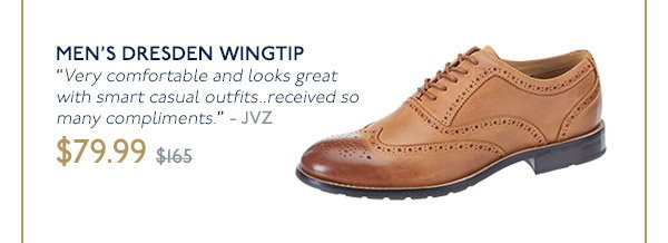 MEN'S DRESDEN WINGTIP - ON SALE NOW $79.99