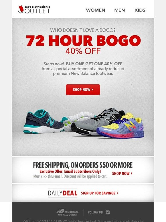 3e3c2b4e7ea1 Joe's New Balance Outlet: Lucky You! 72 Hour BOGO Sale! | Milled