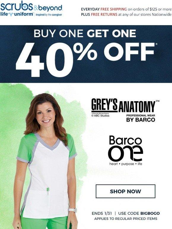 013859d777d Uniform City: Grey's Anatomy Now BOGO 40! | Milled