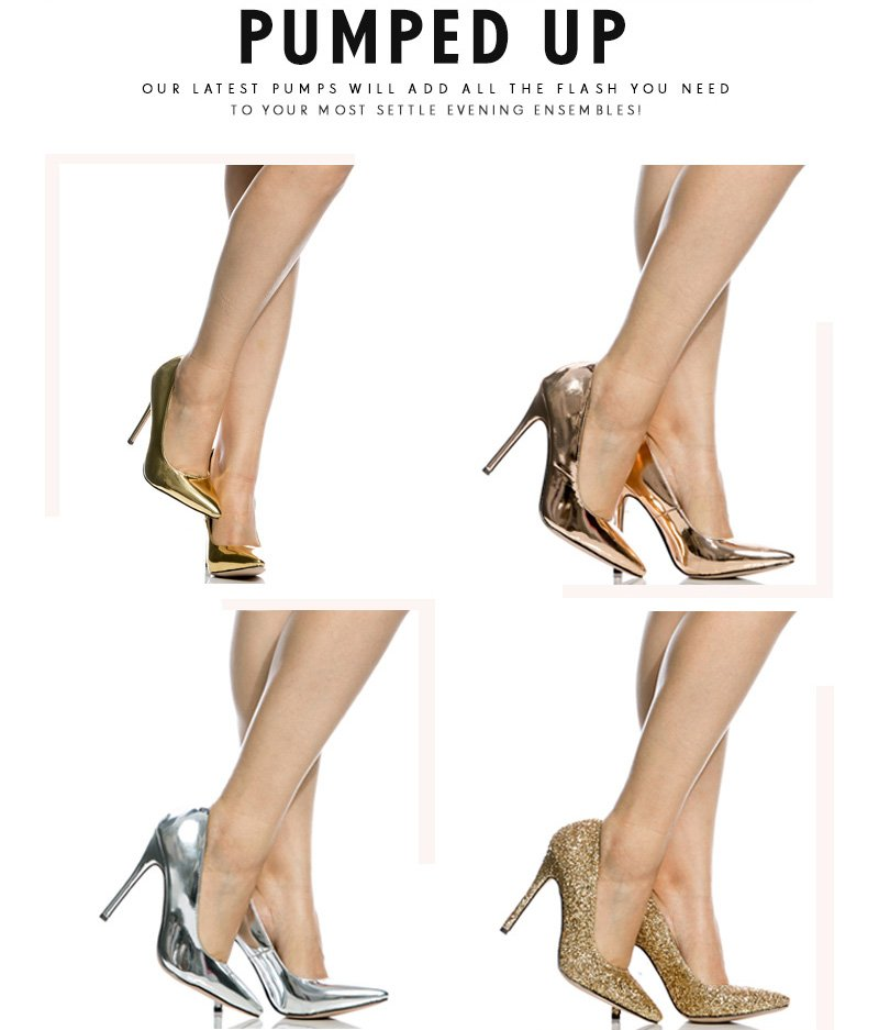 7929e5641d Metallic Silver Faux Patent Leather Pointy Toe Classic Pumps