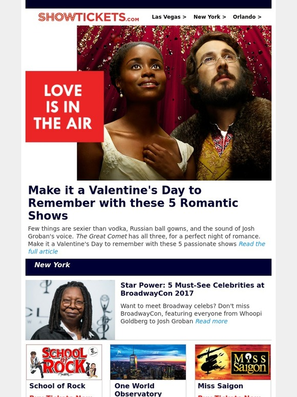 NewYork com: 5 Perfect Broadway Shows for Valentine's Day