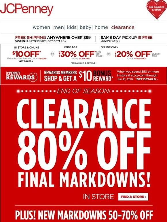 02a995a32 JC Penney: End of Season! 80% off final Clearance markdowns in store |  Milled