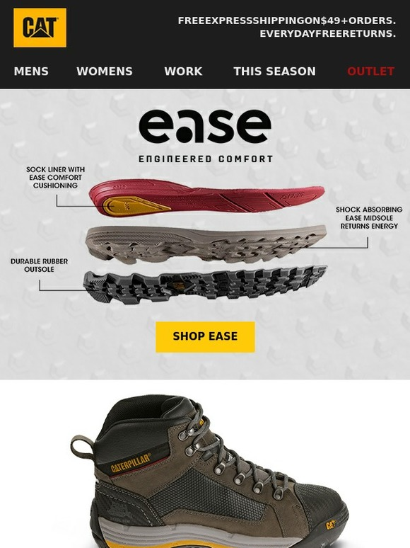 Cat Footwear Ease Technology Next Level Comfort Milled