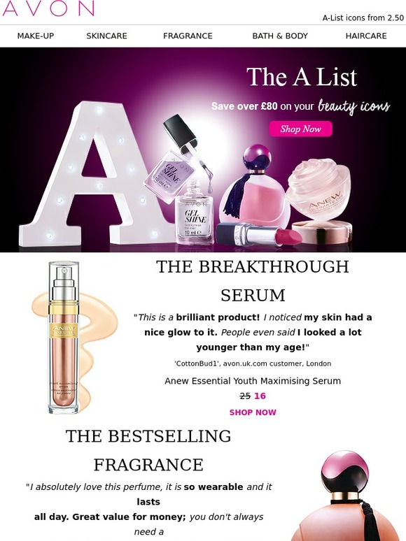 Avon UK: Have your beauty icons made the A-List? | Milled