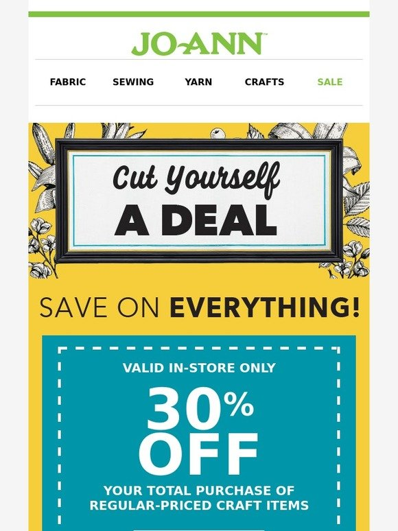 Jo ann fabric and craft store coupon fans some end today for Jo ann fabric and craft coupons