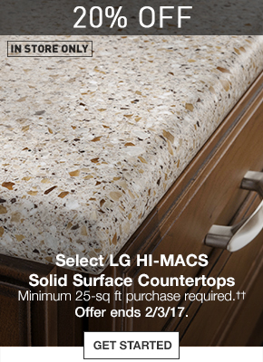 Selection · 20% OFF Select LG HI MACS Solid Surface Countertops. Minimum  25 Sq