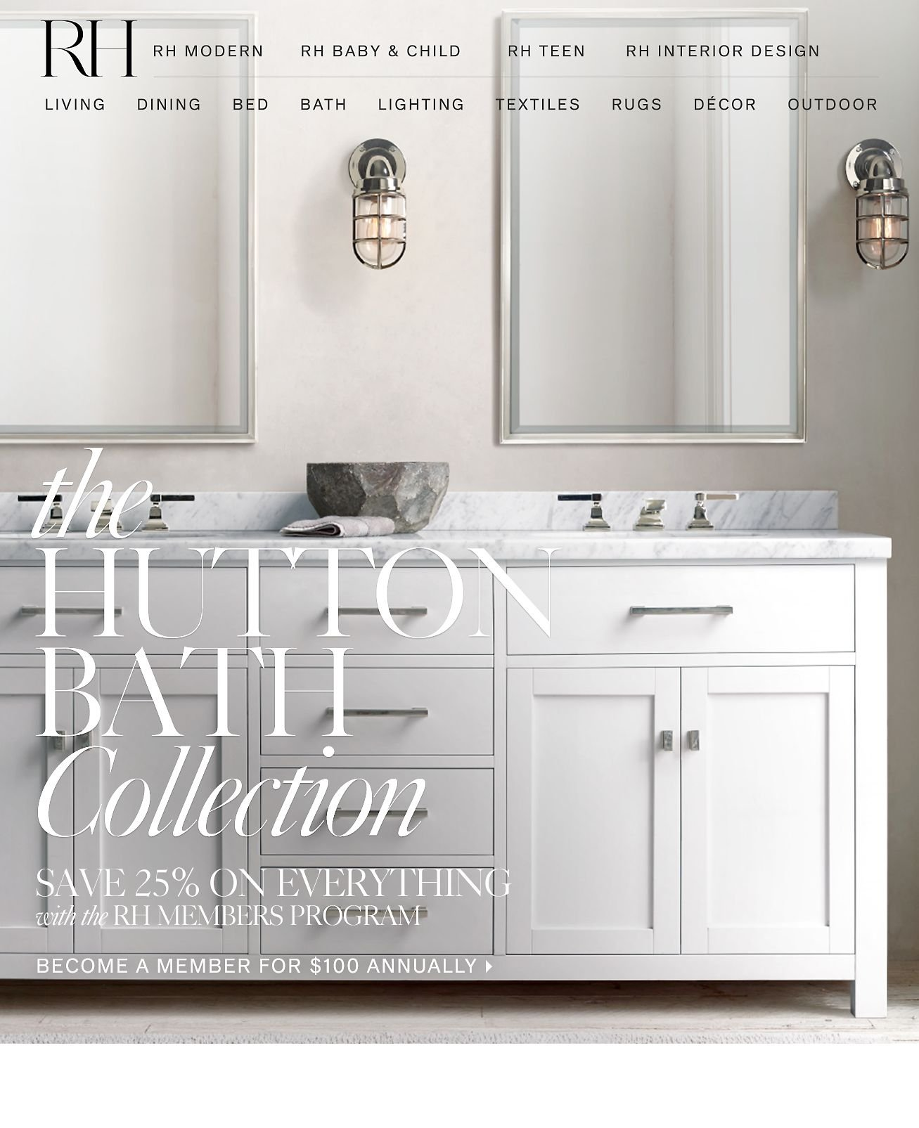 Bathroom Lights Restoration Hardware restoration hardware: the well-appointed bath. save 25% on