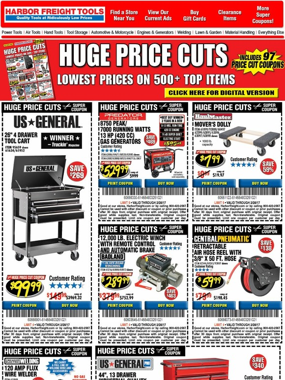 harbor freight coupons alert your february super coupons are here huge price cuts milled. Black Bedroom Furniture Sets. Home Design Ideas