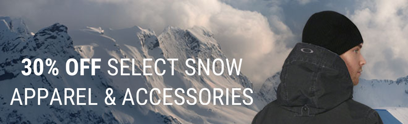 30% OFF SELECT SNOW APPAREL & ACCESSORIES