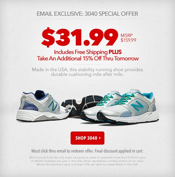 e39114bf0af48 Joe's New Balance Outlet: Email Exclusive! 3040 Flash Sale | Milled