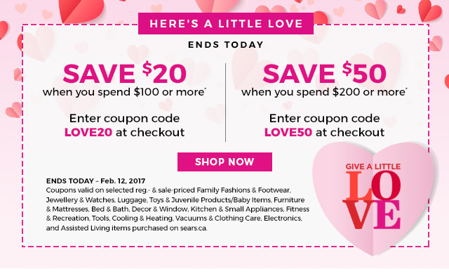 Sears canada here 39 s a 50 coupon to treat your sweetie for Home decorators coupon 50 off 200
