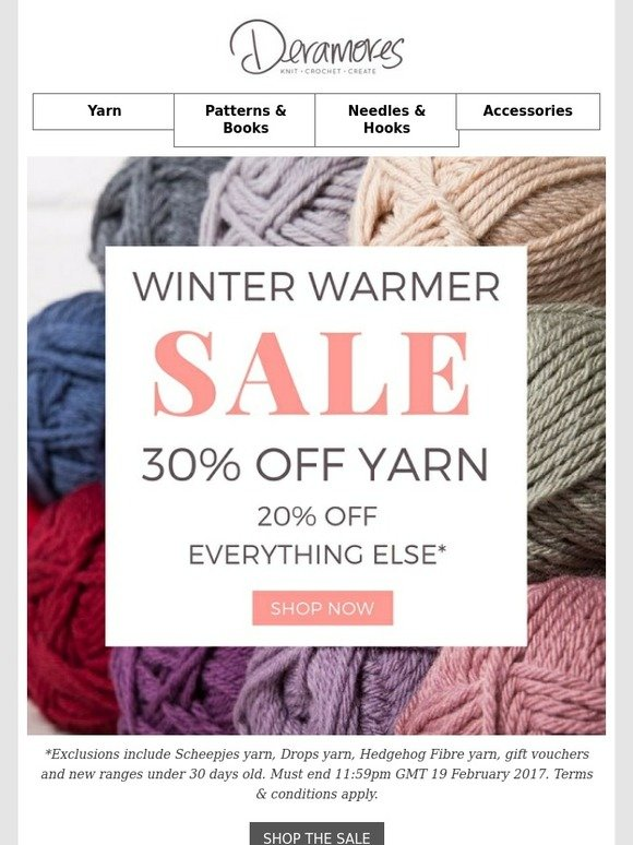 Deramores: 30% Off Yarn Continues + FREE Pattern Inside | Milled