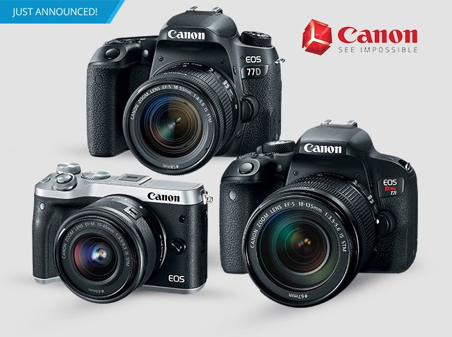 Canon Releases a Trio of New Cameras: M6 Mirrorless, T7i and 77D DSLRs