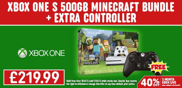 Xbox One 500GB Minecraft pack with FREE Extra Controller