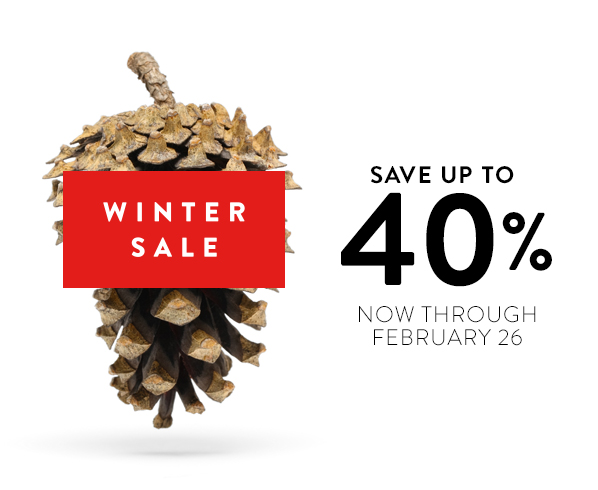 WINTER SALE SAVE UP TO 40% NOW THROUGH FEBRUARY 26