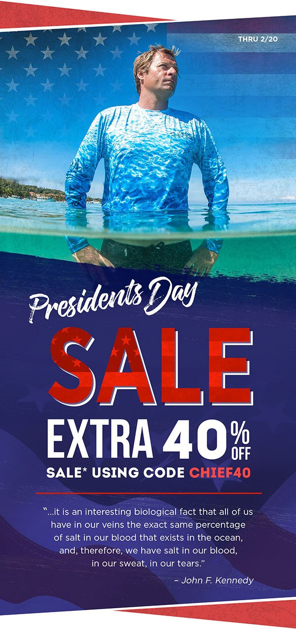 Don't let this Presidents' Day sale swim away. Shop til 2/20 for 40% off sale items.