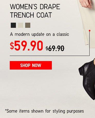 Women's Drape Trench Coat