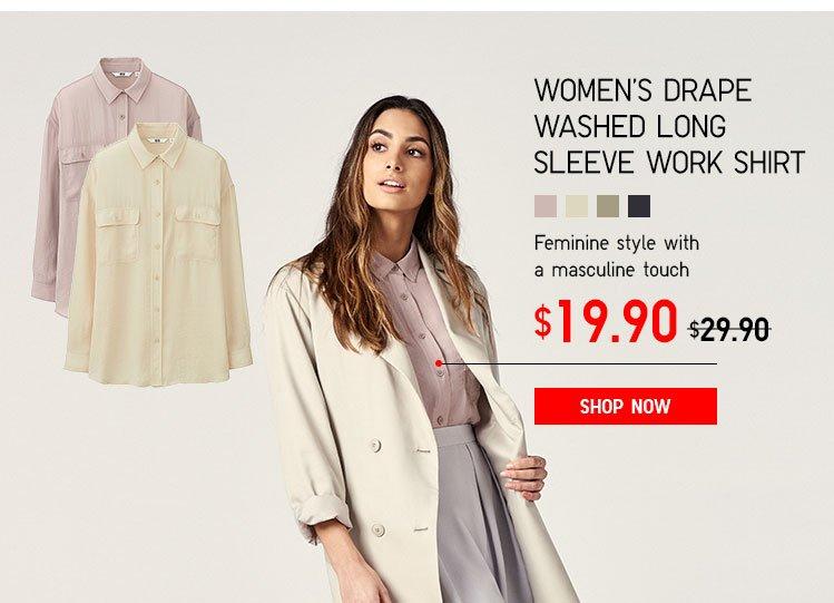 Women's Drape Washed Long Sleeve Work Shirt