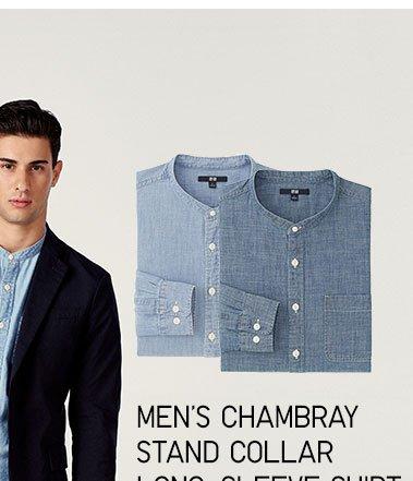 Men's Chambray Stand Collar Long-Sleeve Shirt