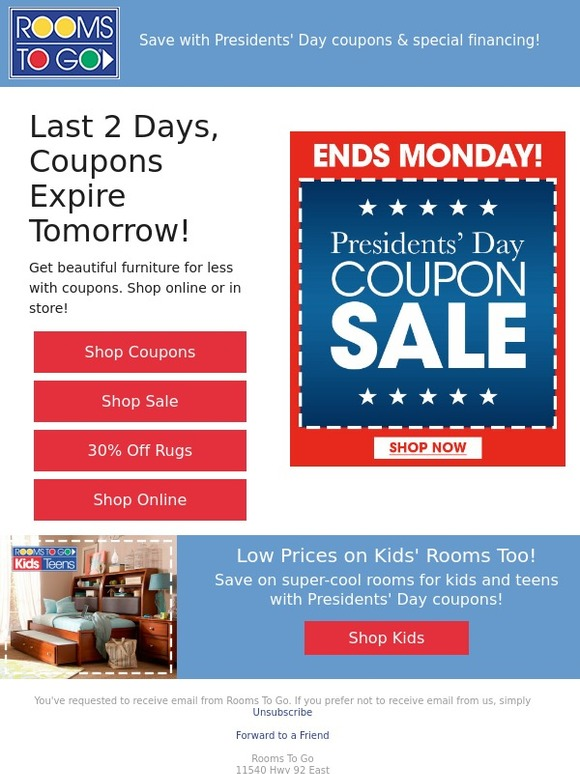 rooms to go presidents day coupon sale final 2 days milled rh milled com Rooms to Go Coupon December rooms to go kids coupons 2017