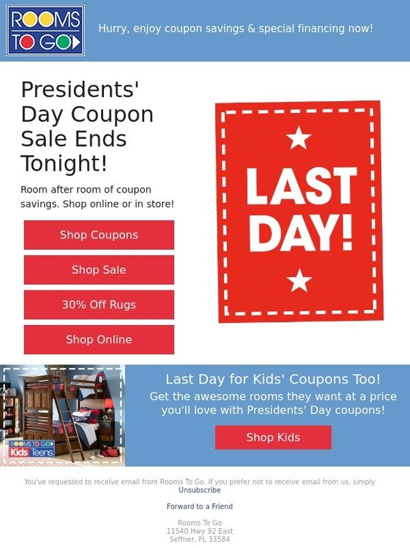 Rooms To Go Last Chance For Presidents Day Coupon Savings Milled