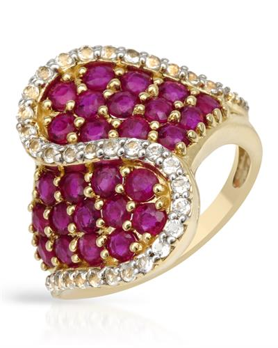 3.56ctw Cubic Zirconia and Rubies Gold Ring